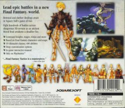 Final Fantasy Tactics back cover
