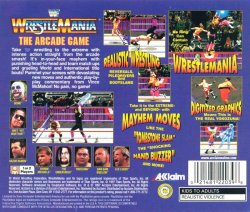 WWF WrestleMania: The Arcade game back cover